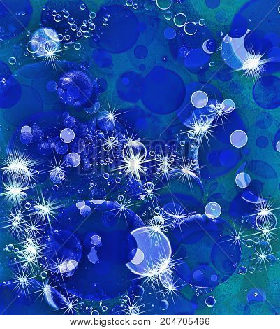 Blue bubbles and stars pattern as abstract background.