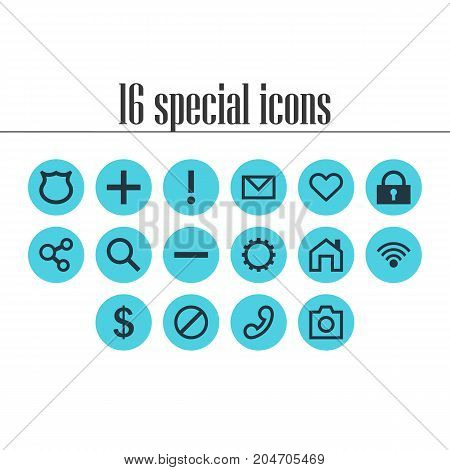 Editable Pack Of Cogwheel, Handset, Access Denied Elements.  Vector Illustration Of 16 Member Icons.