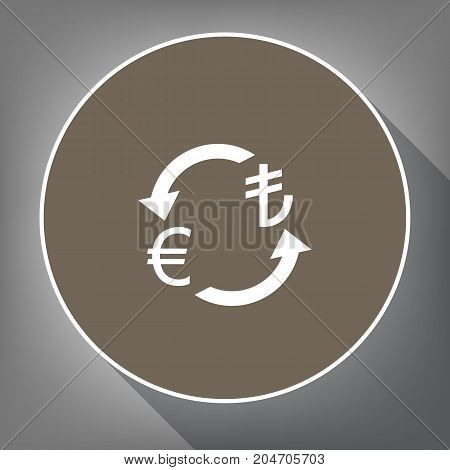 Currency exchange sign. Euro and Turkey Lira. Vector. White icon on brown circle with white contour and long shadow at gray background. Like top view on postament.