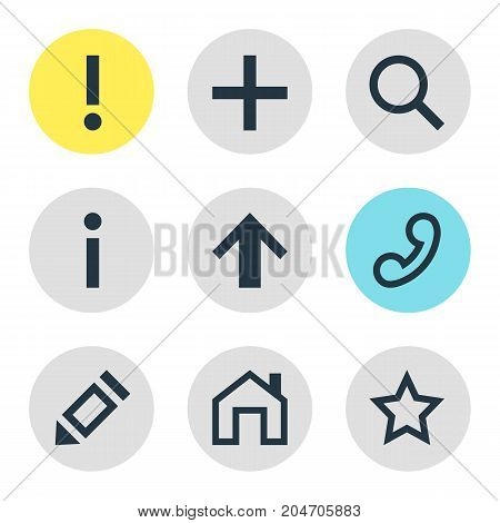 Editable Pack Of Magnifier, Info , Handset Elements.  Vector Illustration Of 9 Member Icons.