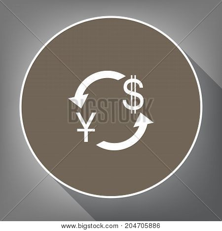 Currency exchange sign. China Yuan and US Dollar. Vector. White icon on brown circle with white contour and long shadow at gray background. Like top view on postament.