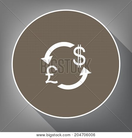 Currency exchange sign. UK: Pound and US Dollar. Vector. White icon on brown circle with white contour and long shadow at gray background. Like top view on postament.