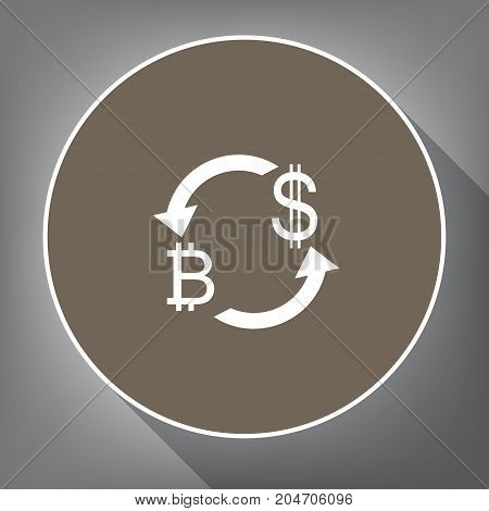 Currency exchange sign. Bitcoin and US Dollar. Vector. White icon on brown circle with white contour and long shadow at gray background. Like top view on postament.