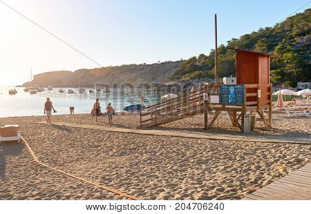 Ibiza Island Spain - June 12 2017: Picturesque Cala Vadella beach in Ibiza Island Balearic Islands. Spain