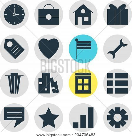Editable Pack Of Portfolio, Gift, Bookshelf And Other Elements.  Vector Illustration Of 16 Internet Icons.