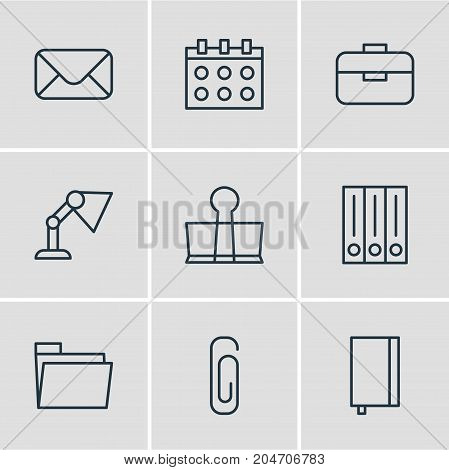 Editable Pack Of Letter, Dossier, Illuminator And Other Elements.  Vector Illustration Of 9 Tools Icons.