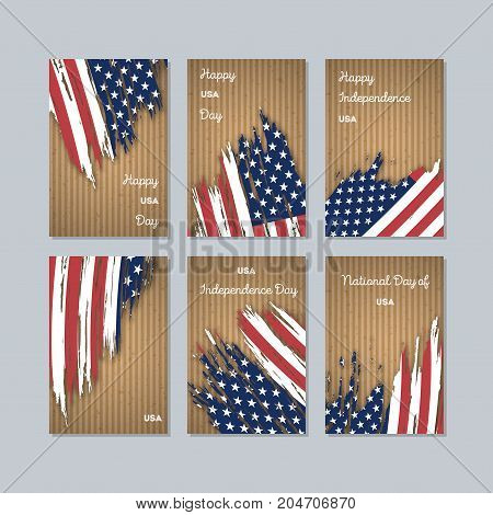 Usa Patriotic Cards For National Day. Expressive Brush Stroke In National Flag Colors On Kraft Paper