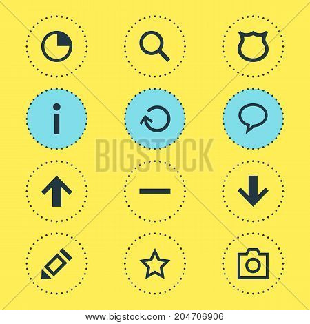Editable Pack Of Magnifier, Snapshot, Minus And Other Elements.  Vector Illustration Of 12 Member Icons.