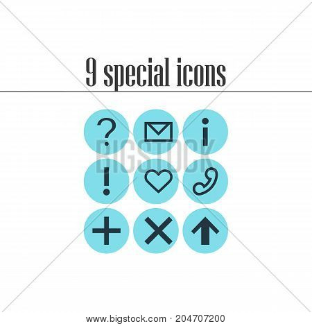 Editable Pack Of Info , Handset, Heart Elements.  Vector Illustration Of 9 Interface Icons.