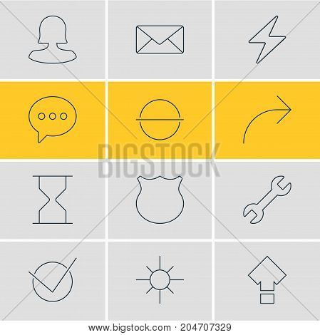 Editable Pack Of Message, Yes, Remove And Other Elements.  Vector Illustration Of 12 UI Icons.