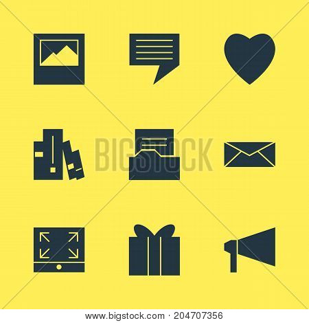Editable Pack Of Document Directory, Letter, Bookshelf And Other Elements.  Vector Illustration Of 9 Web Icons.