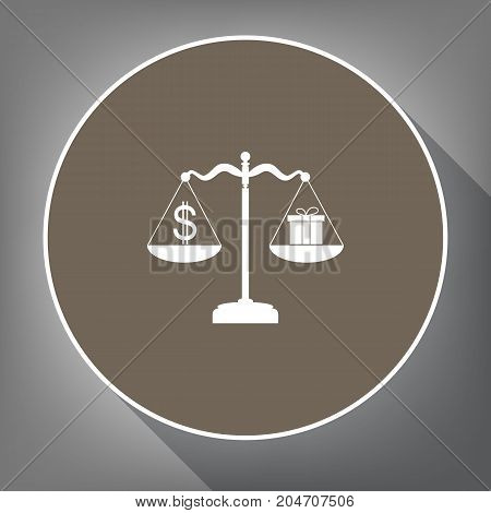 Gift and dollar symbol on scales. Vector. White icon on brown circle with white contour and long shadow at gray background. Like top view on postament.