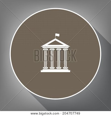 Historical building with flag. Vector. White icon on brown circle with white contour and long shadow at gray background. Like top view on postament.