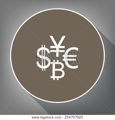Currency sign collection dollar, euro, bitcoin, yen. Vector. White icon on brown circle with white contour and long shadow at gray background. Like top view on postament.
