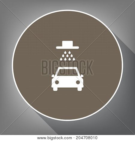 Car wash sign. Vector. White icon on brown circle with white contour and long shadow at gray background. Like top view on postament.