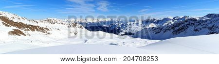 Mountain Panorama With Snow And Blue Sky In Winter In Stubai Alps, Austria