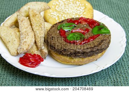 Dessert Imposter Hamburger And Fries On China Plate