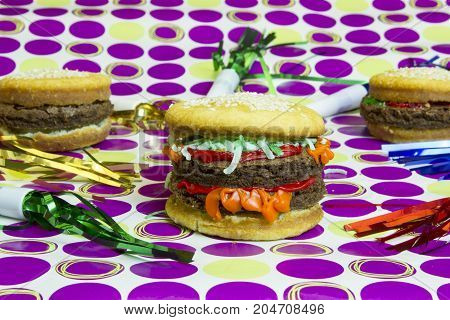 Dessert Imposter Hamburger And Cheeseburgers With Colorful Streamers