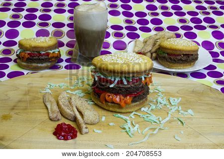Dessert Imposter Hamburger And Cheeseburgers With Fries And Root Beer Float