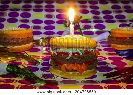 Dessert Imposter Cheeseburgers And Hamburgrer With Birthday Candle