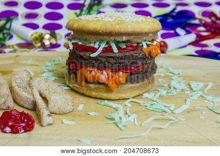 Dessert Imposter  Double Cheeseburger And Apple Fries With Ketchup