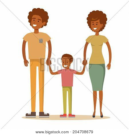 Happy Afro-American family. Father, mother and son together. Vector illustration of a flat design