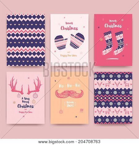 Merry Christmas greeting card set with cute socks winter gloves and vintage mustache horns and christmas patterns