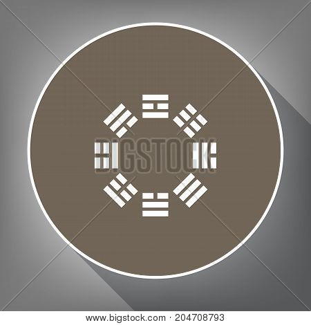 Bagua sign. Vector. White icon on brown circle with white contour and long shadow at gray background. Like top view on postament.