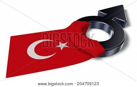 male symbol and flag of turkey - 3d rendering