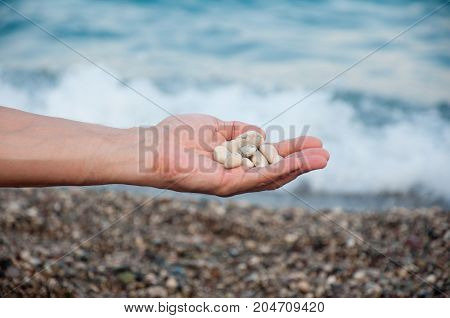 Small marble white round stones in human's hand on sea waves and beach background