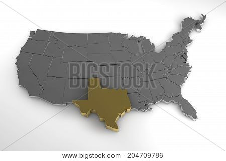 United States of America, 3d metallic map, with Texas state highlighted. 3d render
