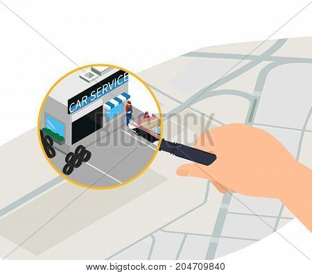 Flat isometric paper map with huge magnifier and car sevice building vector illustration. Hand holding  magnifier. -stock illustration