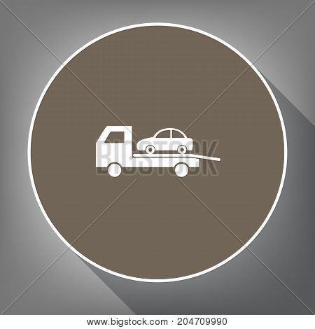 Tow car evacuation sign. Vector. White icon on brown circle with white contour and long shadow at gray background. Like top view on postament.