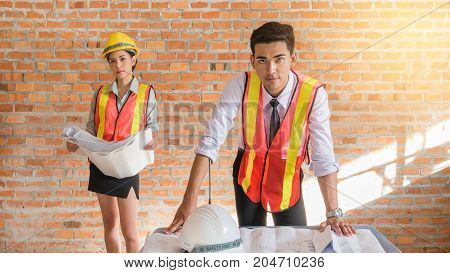 Architect Builder And Woman Engineer
