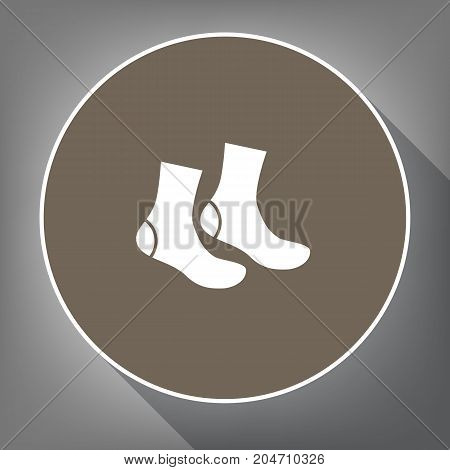 Socks sign. Vector. White icon on brown circle with white contour and long shadow at gray background. Like top view on postament.