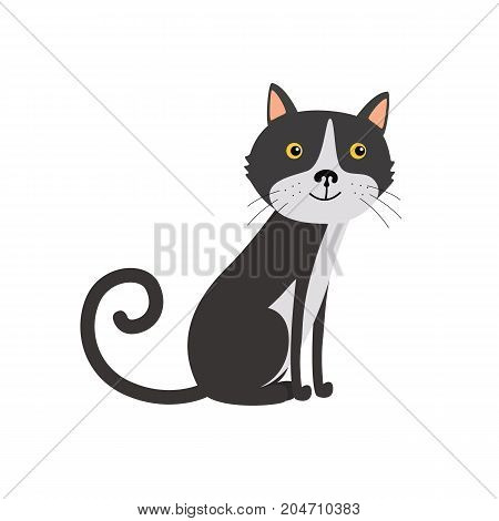 Cute black cat sitting. Flat vector illustration isolated on white background