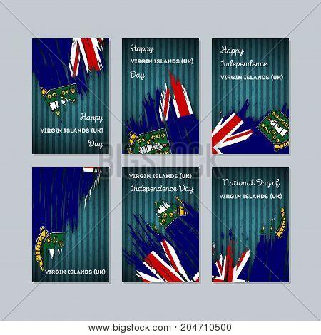 Virgin Islands (uk) Patriotic Cards For National Day. Expressive Brush Stroke In National Flag Color