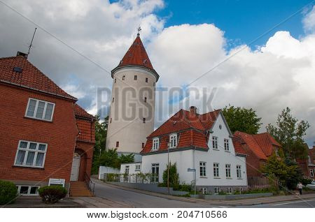 Water tower in town of Ringsted in Denmark