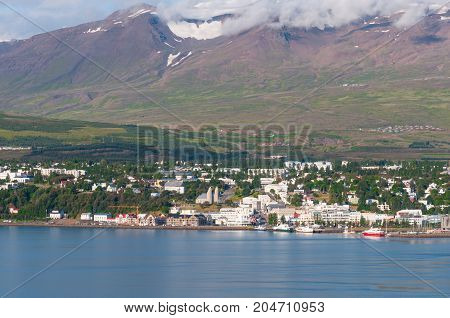 City Of Akureyri In Iceland