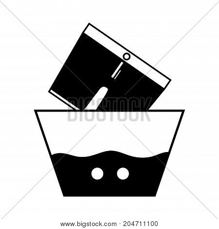 contour clean shorts soaking in pail with water vector illustration