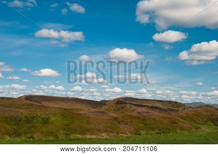 Pseudocraters Near Lake Myvatn In North Iceland