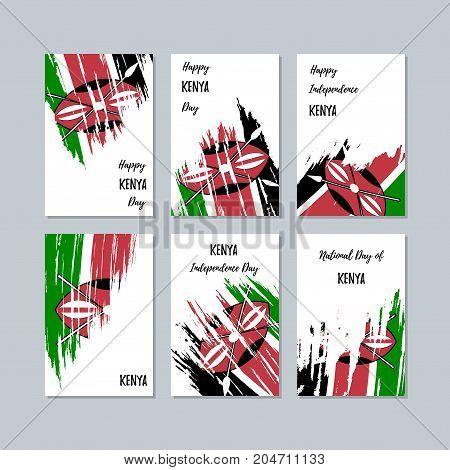 Kenya Patriotic Cards For National Day. Expressive Brush Stroke In National Flag Colors On White Car