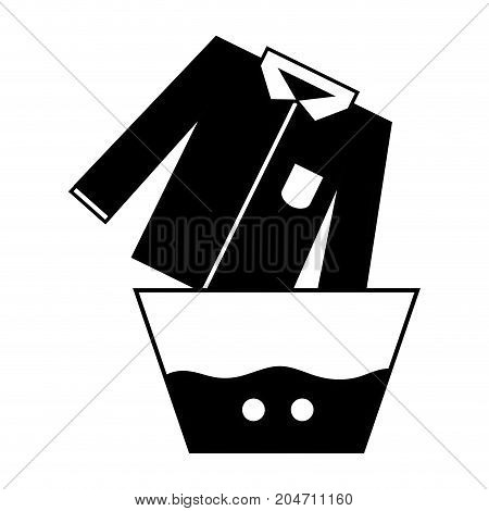 contour clean shirt soaking in pail with water vector illustration