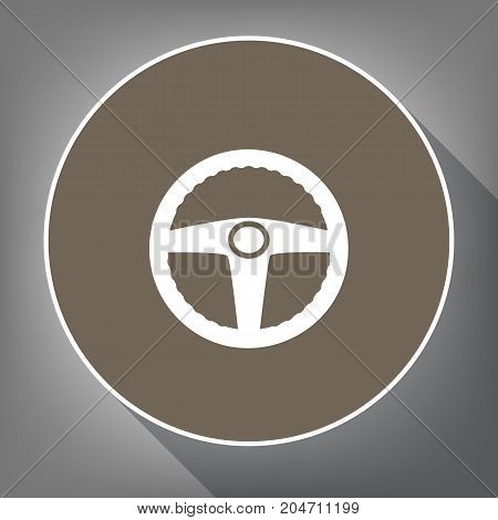 Car driver sign. Vector. White icon on brown circle with white contour and long shadow at gray background. Like top view on postament.