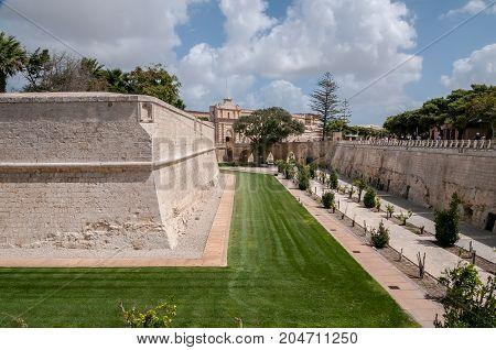 Entrance gardens to the ancient city of Mdina, Malta