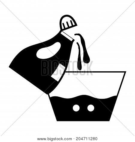 contour water pail design with softener bottle plashing vector illustration