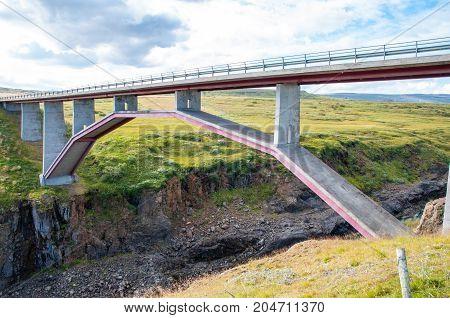 Bridge crossing Jokulsa river in North Iceland