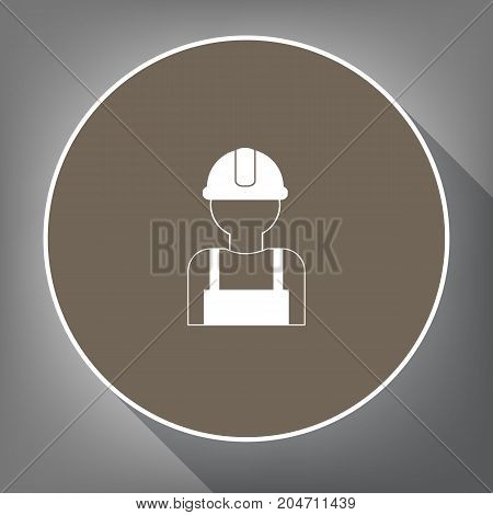 Worker sign. Vector. White icon on brown circle with white contour and long shadow at gray background. Like top view on postament.