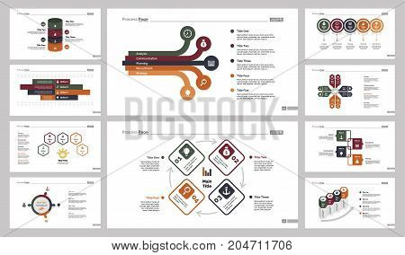 Infographic design set can be used for workflow layout, diagram, annual report, presentation, web design. Business and management concept with process, bar and percentage charts.