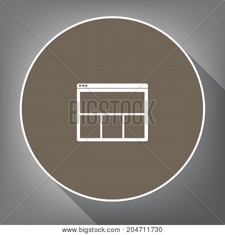 Web window sign. Vector. White icon on brown circle with white contour and long shadow at gray background. Like top view on postament.